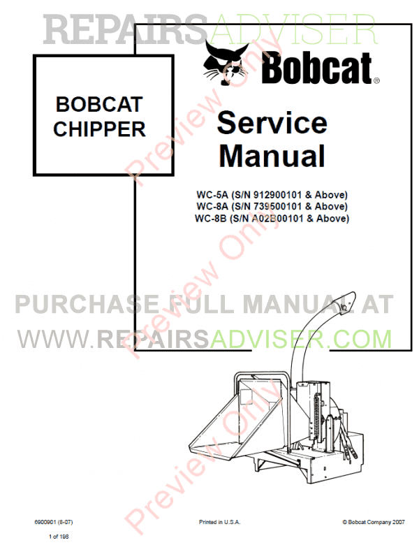 Bobcat Chipper WC-5A, WC-8A, WC-8B Service Manual PDF image #1