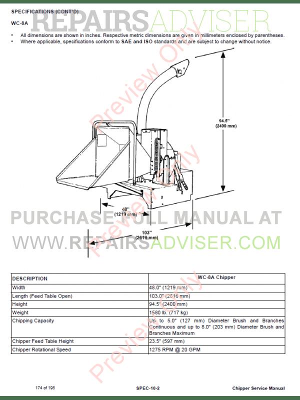 bobcat chipper wc 5a wc 8a wc 8b service manual pdf download. Black Bedroom Furniture Sets. Home Design Ideas