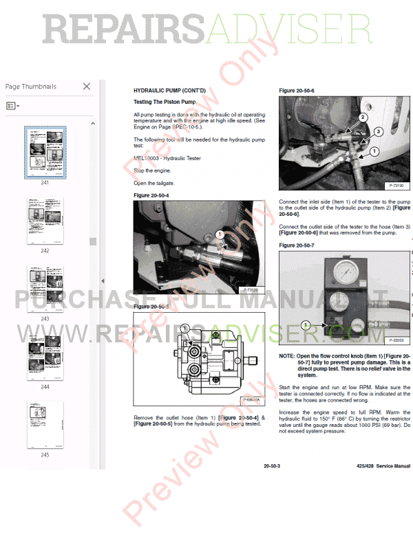 Bobcat Compact Excavator 425, 428 Service Manual PDF Download