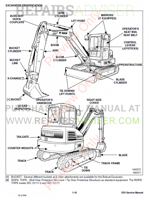 Bobcat Compact Excavator E55 Service Manual Pdf Download