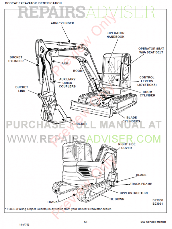 Bobcat Compact Excavator E60 Service Manual Pdf Download