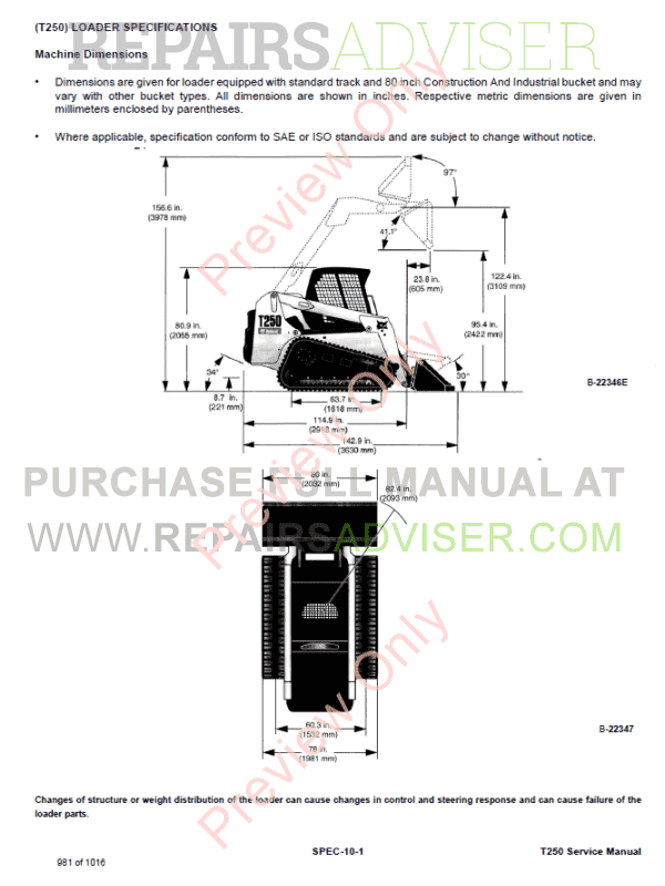 Bobcat Compact Track Loader T250 Service Manual PDF, Bobcat Manuals by www.repairsadviser.com