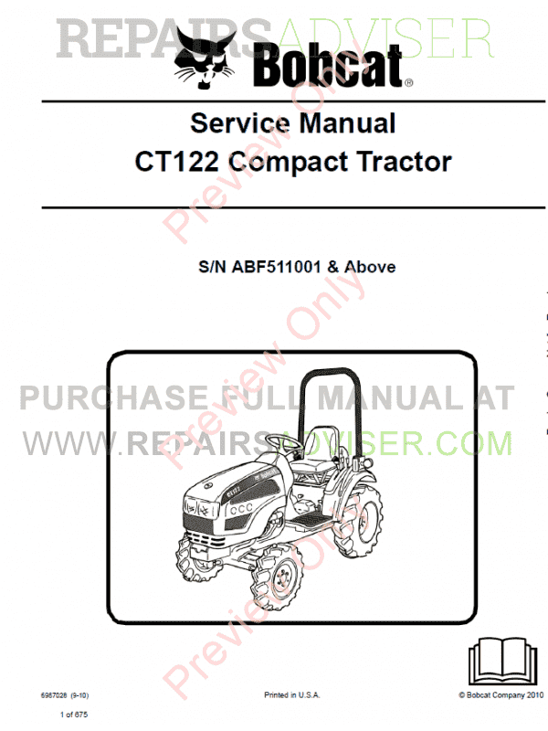 Bobcat Compact Tractor CT122 Service Manual PDF image #1