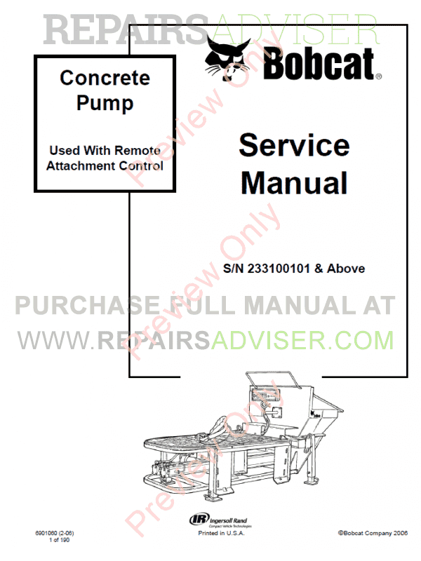 Bobcat Concrete Pump PDF Service Manual image #1