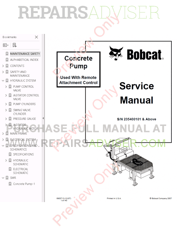 Bobcat Concrete Pump PDF Service Manual, Bobcat Manuals by www.repairsadviser.com