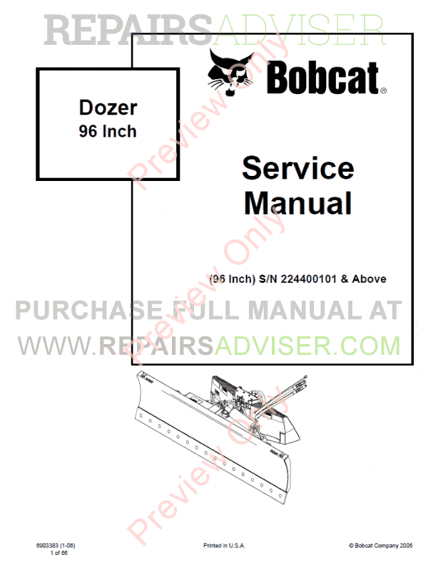 Bobcat Dozer 96 Inch Service Manual PDF, Bobcat Manuals by www.repairsadviser.com