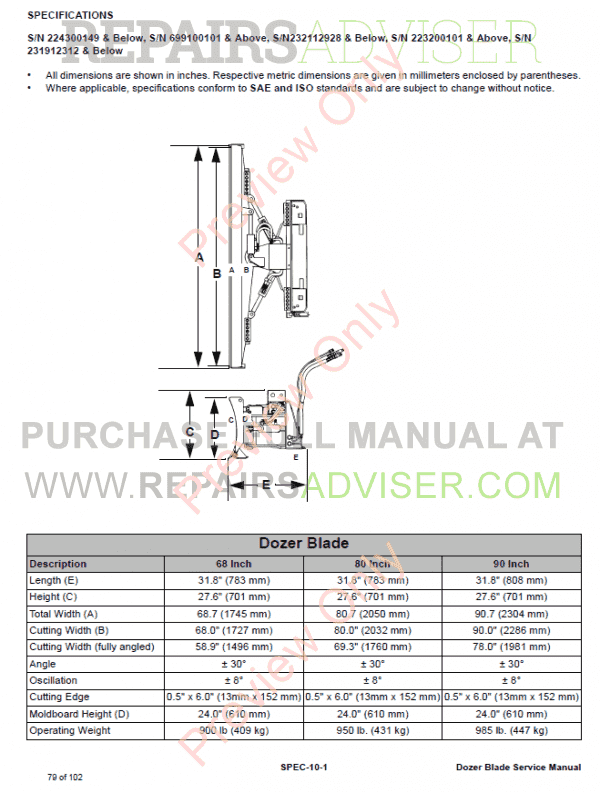 Bobcat Dozer Blade 68, 80, 90 Inch Service Manual PDF Download