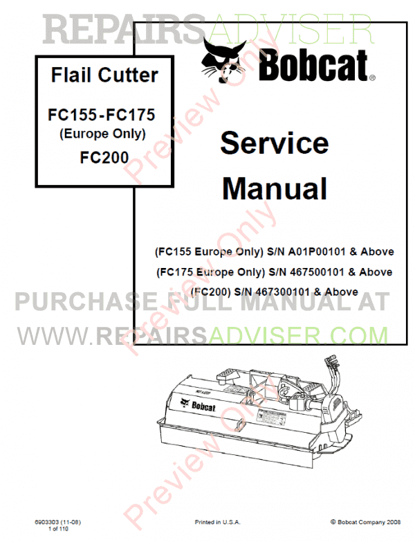 Bobcat Flail Cutters FC155 - FC175 (Europe Only), FC200 Service Manual PDF image #1
