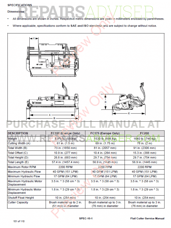 Bobcat Flail Cutters FC155 - FC175 (Europe Only), FC200 Service Manual PDF, Bobcat Manuals by www.repairsadviser.com