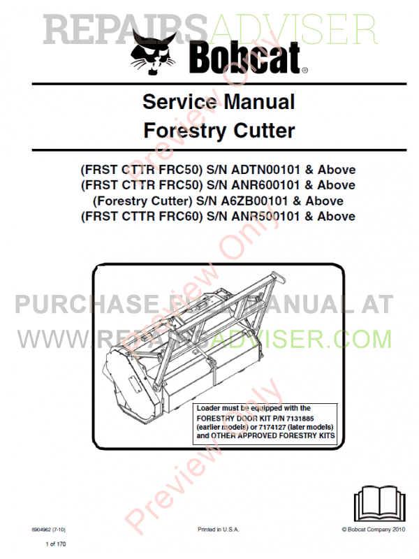 Bobcat Forestry Cutter Service Manual PDF image #1