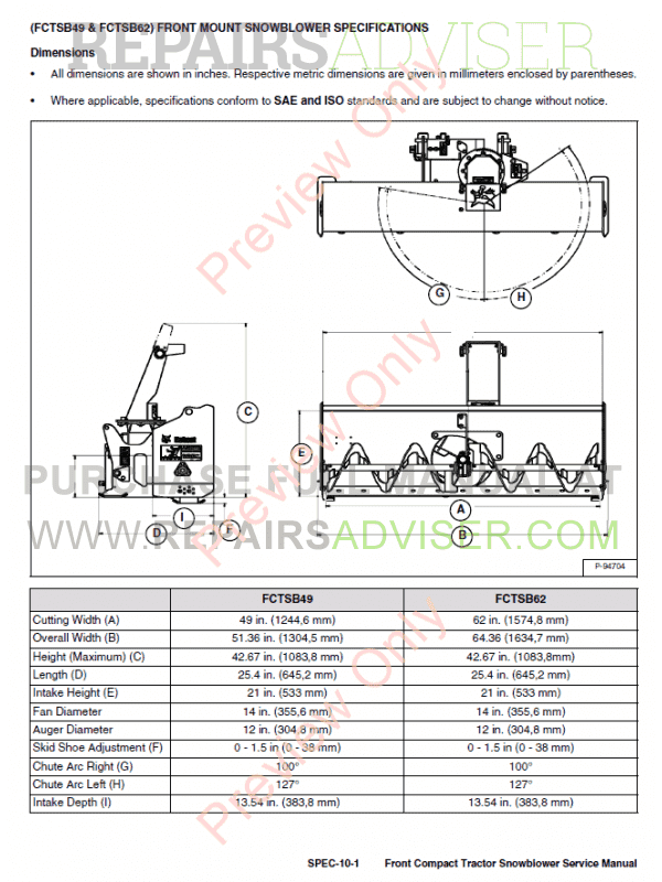 Bobcat Front Compact Tractor Snowblower Service Manual PDF, Bobcat Manuals by www.repairsadviser.com