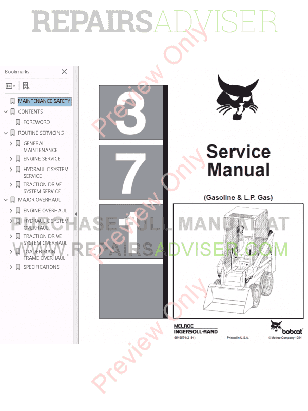 Bobcat Gasoline & L.P. Gas 371 Service Manual PDF