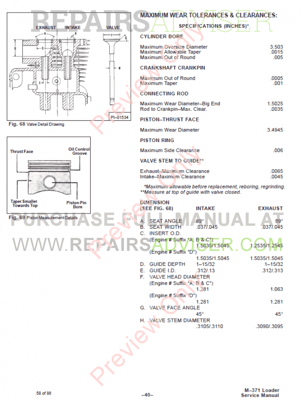 Clark 371 Bobcat Repair Manual m3710 on