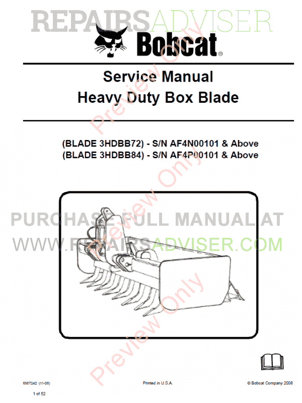 Bobcat Heavy Duty Box Blade Service Manual PDF image #1