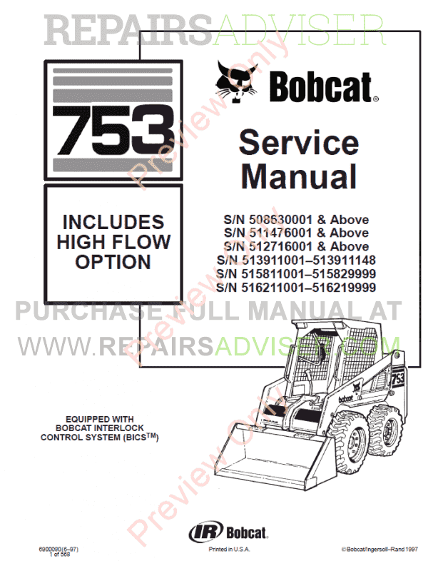 Bobcat High Flow Option 753 Skid Steer Loader Service Manual PDF