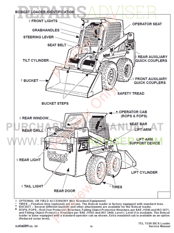 bobcat high flow option 753 skid steer loader service