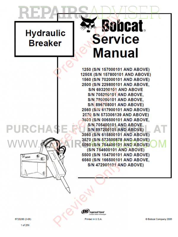Bobcat Hydraulic Breakers 1250, 1250X, 1560, 2500, 2560, 2570, 3500, 3560, 5060, 5500, 6560 PDF Service Manual image #1