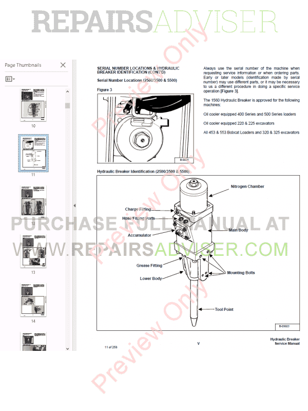 Bobcat Hydraulic Breakers 1250, 1250X, 1560, 2500, 2560, 2570, 3500, 3560, 5060, 5500, 6560 PDF Service Manual, Bobcat Manuals by www.repairsadviser.com