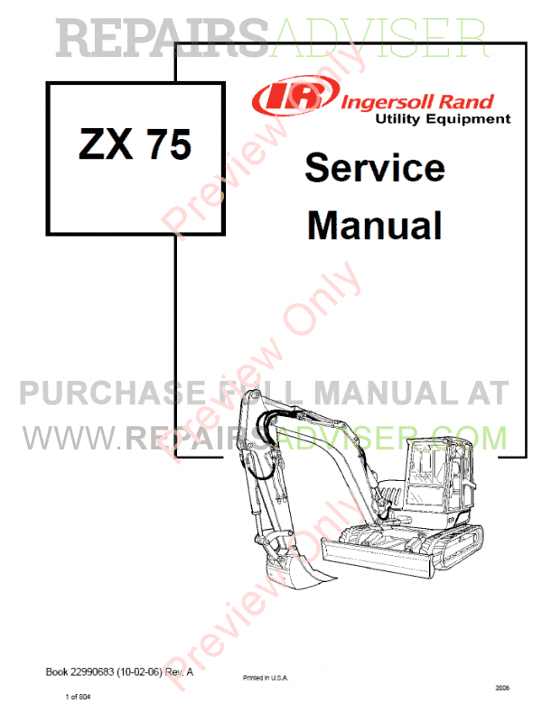Bobcat Ingersoll Rand Excavator ZX75, ZX125 Service Manual PDF image #1