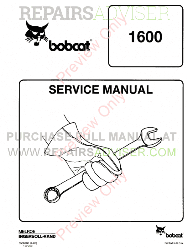Bobcat Loader 1600 Service Manual PDF image #1