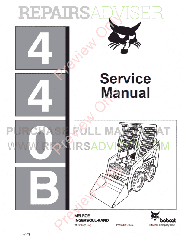 Bobcat Loader 440B Service Manual PDF image #1