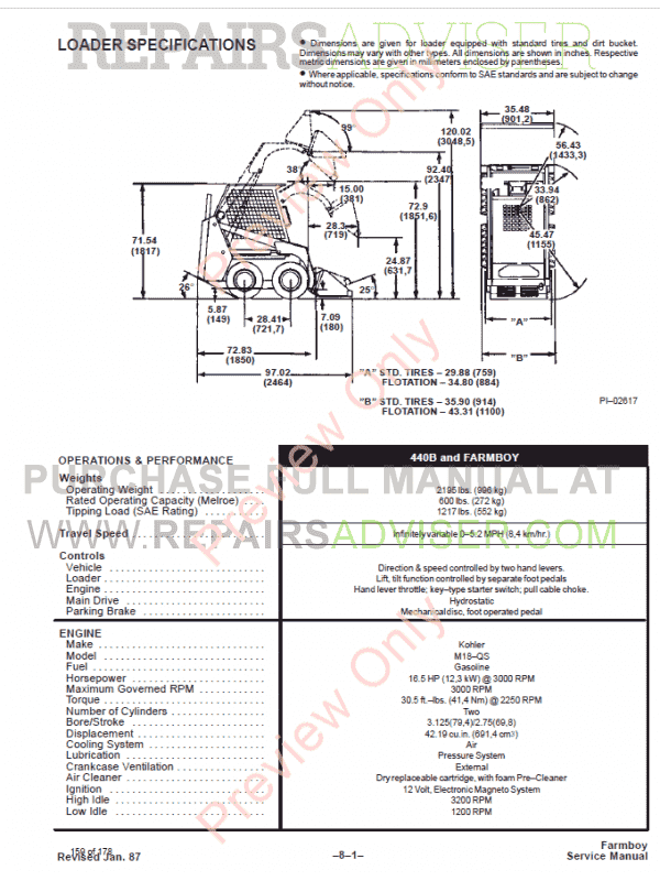 Bobcat Loader 440B Service Manual PDF, Bobcat Manuals by www.repairsadviser.com