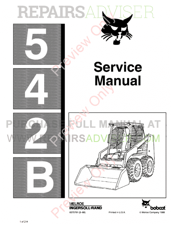 Bobcat Loader 542B Service Manual PDF