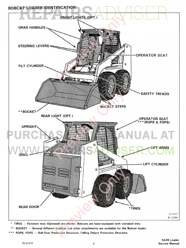 Bobcat Loader 542B Service Manual PDF, Bobcat Manuals by www.repairsadviser.com