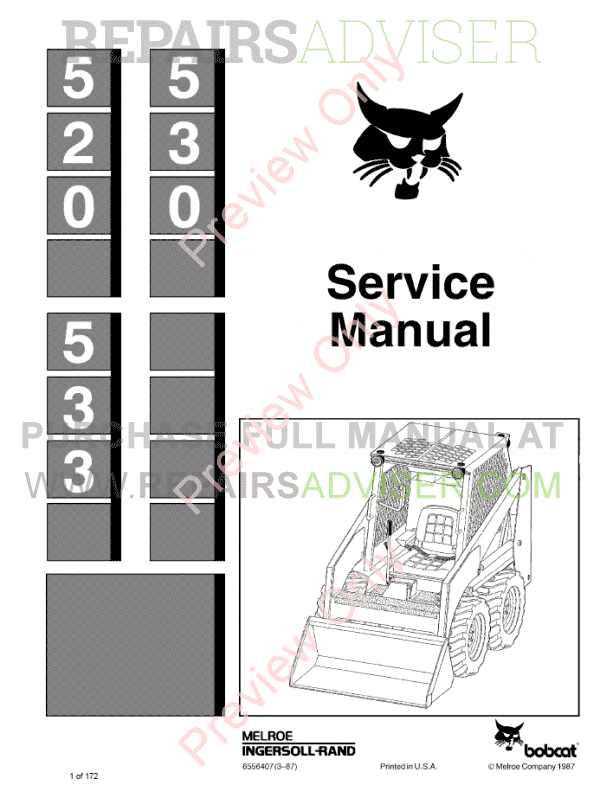 Bobcat Loaders 520, 530, 533 Service Manual PDF image #1