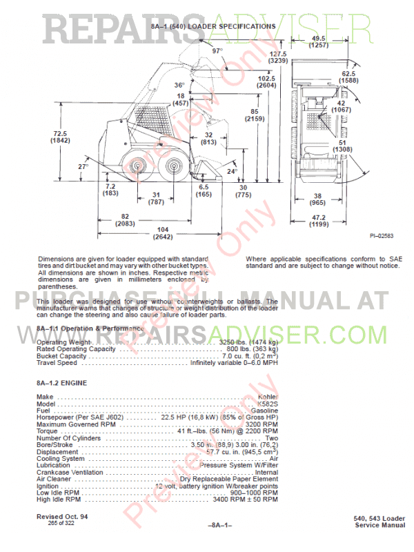 Bobcat Loaders 540, 543 Service Manual PDF, Bobcat Manuals by www.repairsadviser.com