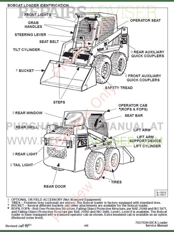 bobcat loaders 763  763 high flow service manual pdf download
