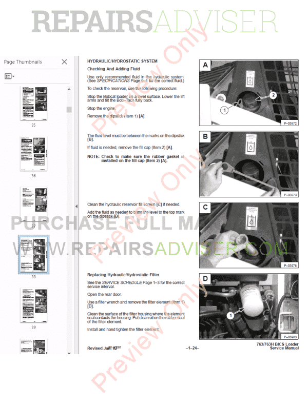 Bobcat 763 Shop manual