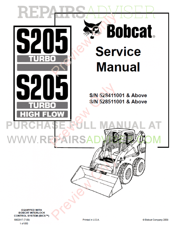 Bobcat Loaders S205 Turbo, S205 Turbo High Flow Service Manual PDF image #1