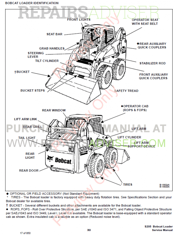 Bobcat Loaders S205 Turbo, S205 Turbo High Flow Service Manual PDF, Bobcat Manuals by www.repairsadviser.com