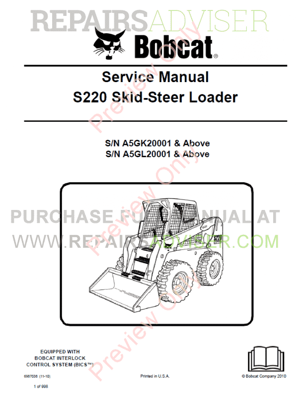 Bobcat Loaders S220 Turbo High Flow Service Manual PDF image #1