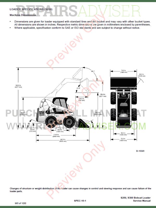 BOBCAT S300 SKID STEER LOADER Service Repair Manual S/N ...