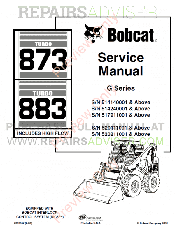 Bobcat Loaders Turbo 873, Turbo 883 High Flow G Series Service Manual PDF image #1