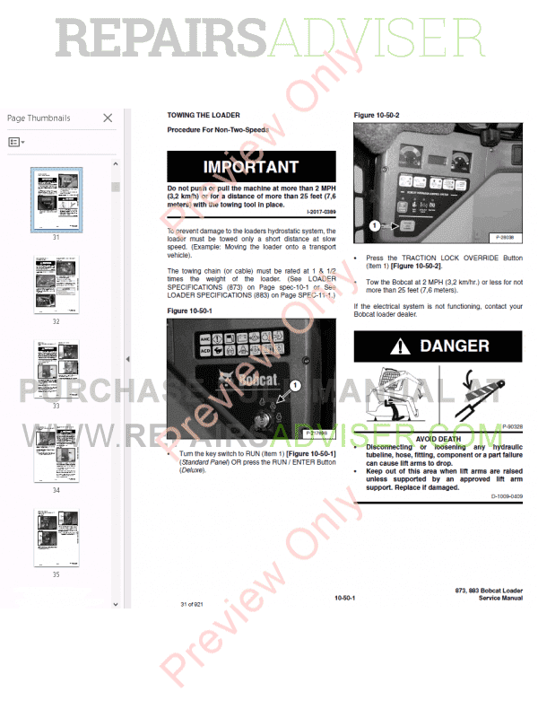 Bobcat Loaders Turbo 873, Turbo 883 High Flow G Series Service Manual PDF, Bobcat Manuals by www.repairsadviser.com