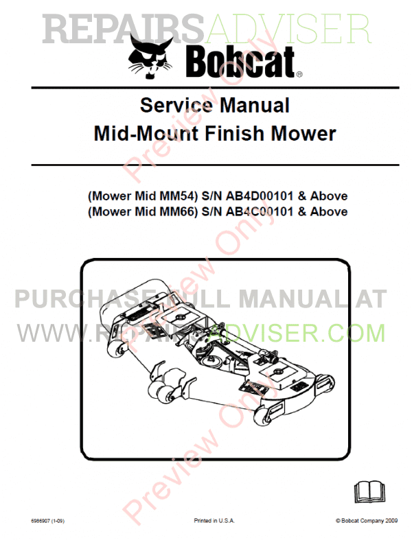 Bobcat Mid-Mount Finish Mowers Service Manual PDF image #1