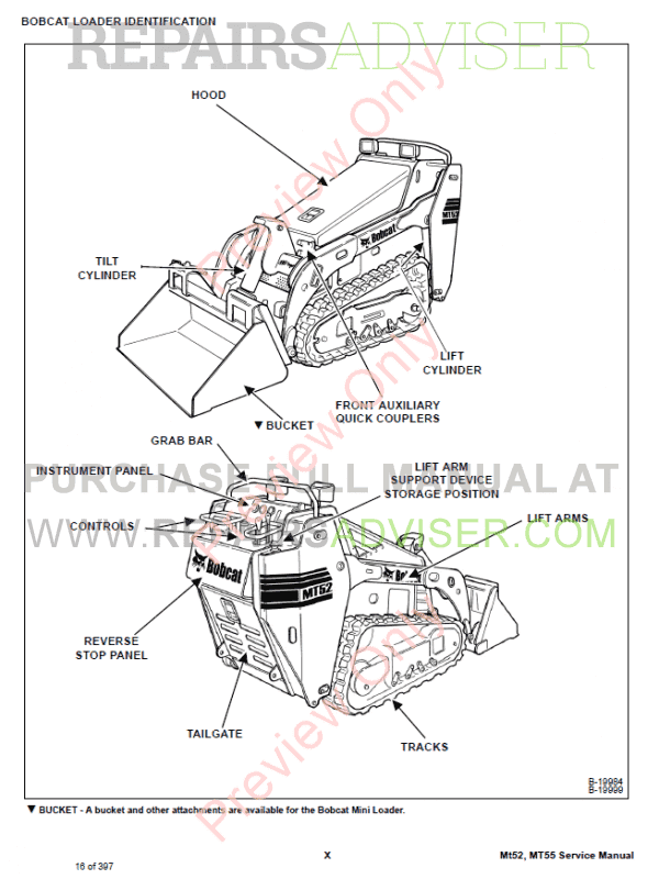 Bobcat Mini Track Loader MT52, MT55 Service Manual PDF Download