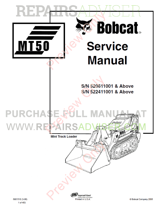Bobcat Mini Track Loader MT52 Service Manual PDF