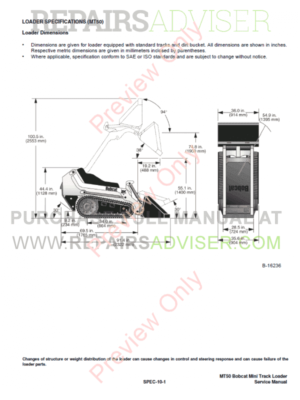 Bobcat Mini Track Loader MT52 Service Manual PDF, Bobcat Manuals by www.repairsadviser.com