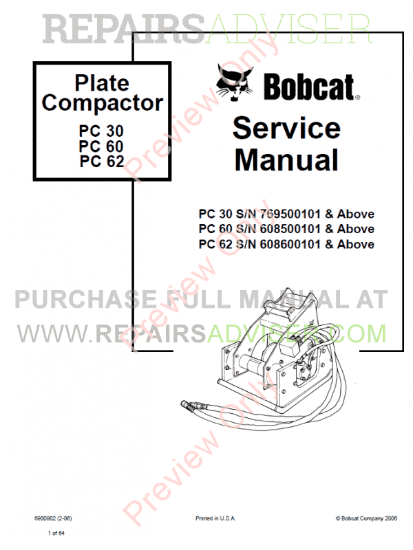 Bobcat Plate Compactor PC 30, PC 60, PC 62 Service Manual PDF, Bobcat Manuals by www.repairsadviser.com