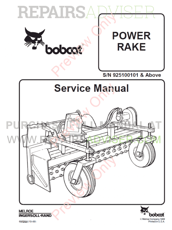 Bobcat Power Rake PDF Service Manual  image #1