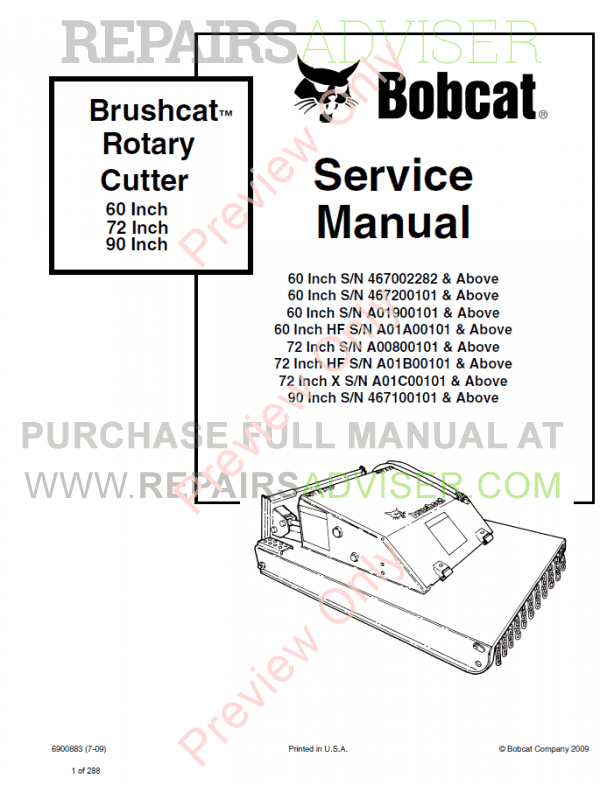 Bobcat Rotary Cutter 60 Inch, 72 Inch, 90 Inch PDF Service Manual  image #1