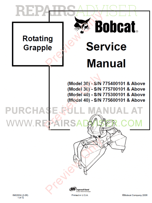 Bobcat Rotating Grapple 30, 40 Models PDF Service Manual image #1