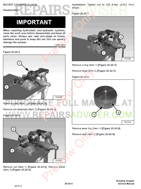 Bobcat Rotating Grapple 30, 40 Models PDF Service Manual, Bobcat Manuals by www.repairsadviser.com