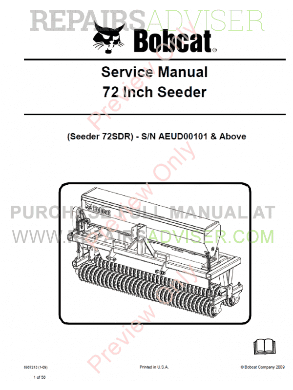 Bobcat Seeder 72 Inch Service Manual PDF image #1