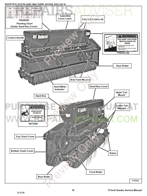 Bobcat Seeder 72 Inch Service Manual PDF, Bobcat Manuals by www.repairsadviser.com