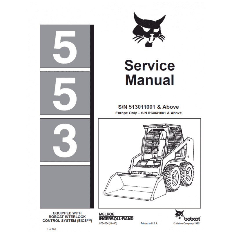 Bobcat Skid Steer Loader 553 Service Manual PDF image #1
